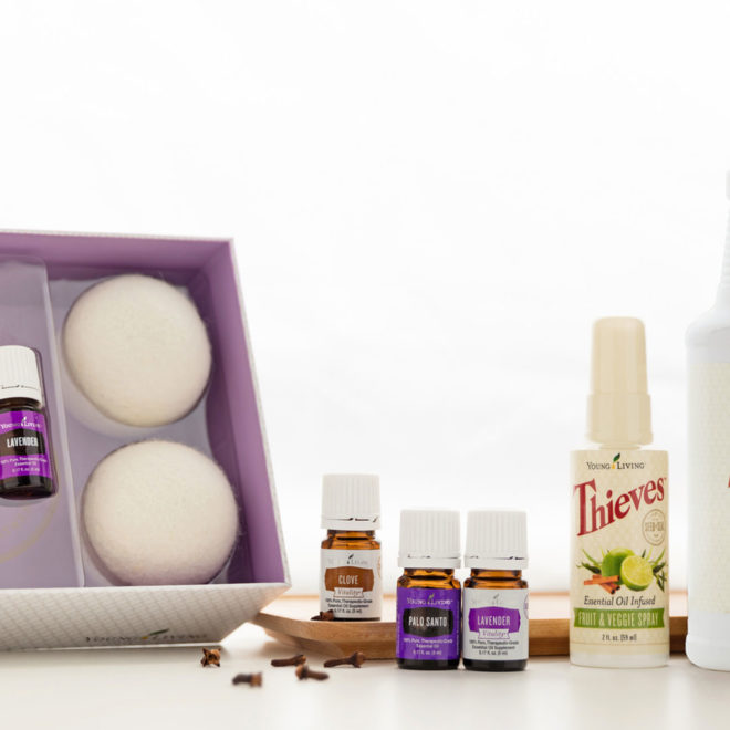 Laundry room: Lavender, Dry Balls, Clove, Palo Santo, Thieves®, Thieves® Household Cleaner